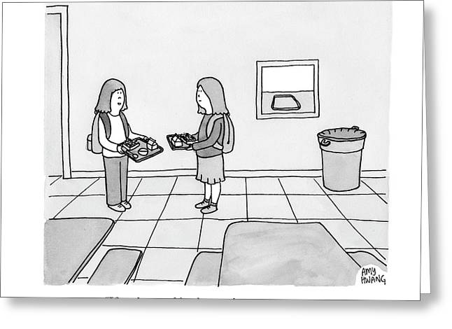 Two Girls Talk In A School Cafeteria Greeting Card