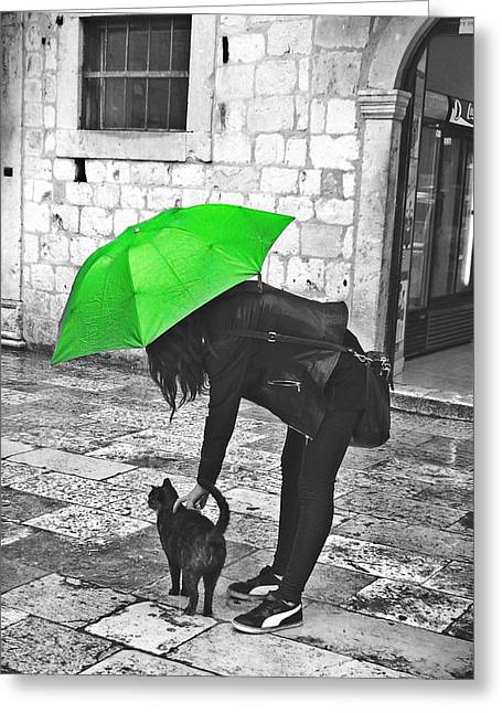 Two Girls Under Umbrella Greeting Card