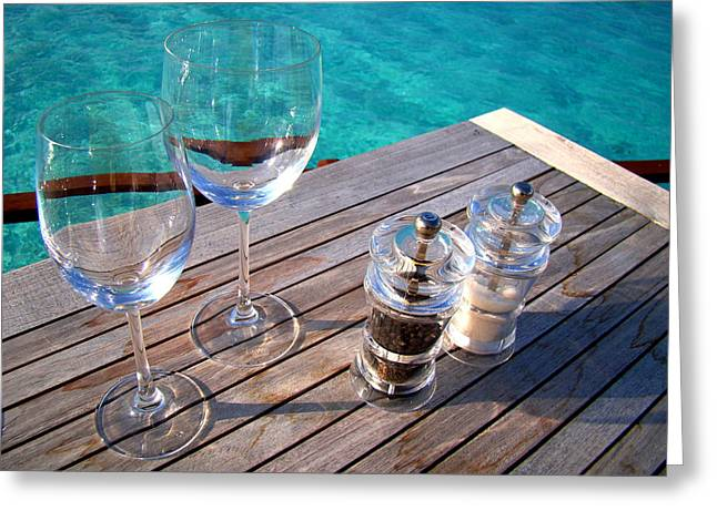 Two Glasses At The Blue Lagoon Greeting Card by Jenny Rainbow