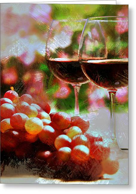 Two Glasses Of Wine With Grapes Greeting Card
