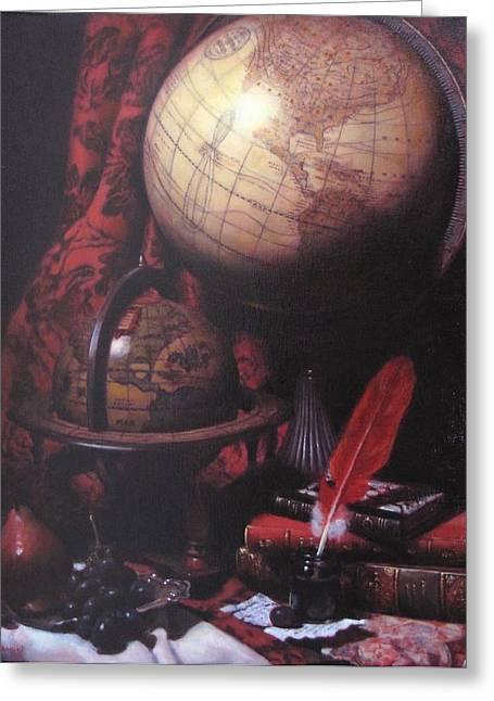 Two Globes Greeting Card by Takayuki Harada