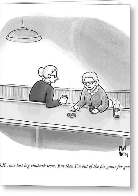 Two Grannies Smoke And Drink At A Bar Greeting Card