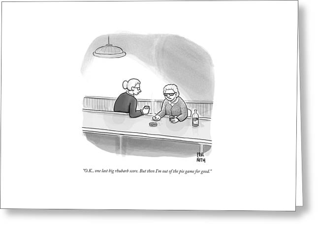 Two Grannies Smoke And Drink At A Bar Greeting Card by Paul Noth