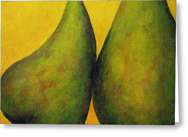 Two Green Pears Greeting Card by Marie-louise McHugh