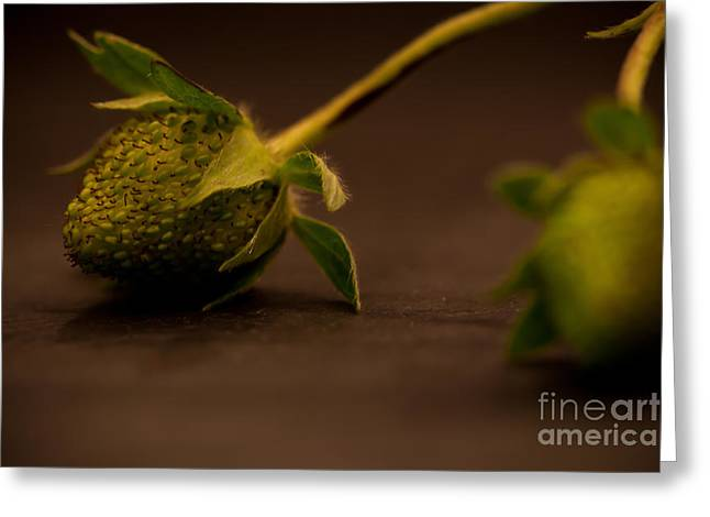 Two Green Strawberries Greeting Card by Patricia Bainter