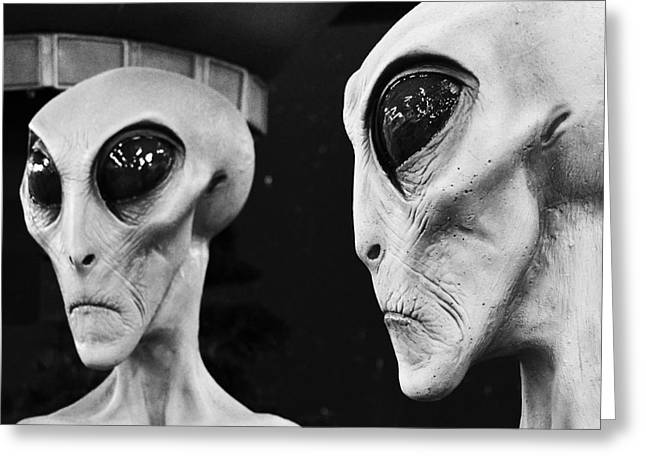 Two Grey Aliens Science Fiction Square Format Black And White Greeting Card