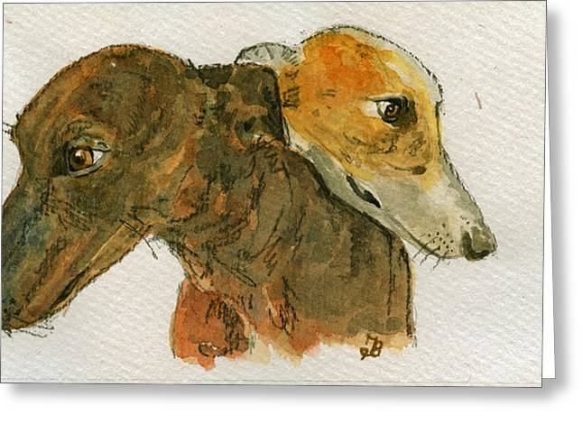 Two Greyhounds Greeting Card by Juan  Bosco
