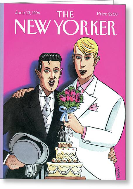 Two Grooms At Their Wedding Infront Greeting Card by Jacques de Loustal