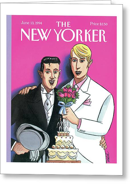 Two Grooms At Their Wedding Infront Greeting Card
