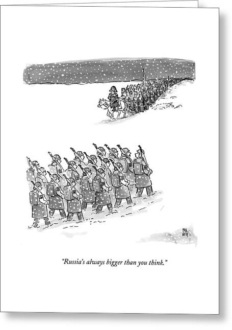 Two Groups Of Army Troops Walk In Opposite Greeting Card