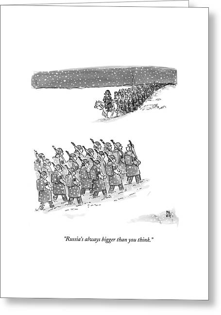 Two Groups Of Army Troops Walk In Opposite Greeting Card by Paul Noth