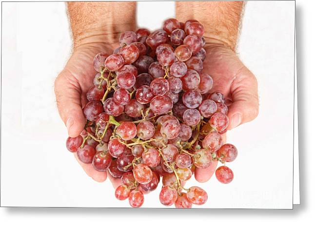 Two Handfuls Of Red Grapes Greeting Card