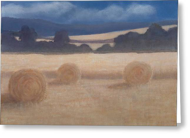 Two Hay Bales, 2012 Acrylic On Canvas Greeting Card by Lincoln Seligman