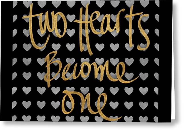 Two Hearts Become One Pattern Greeting Card by South Social Studio
