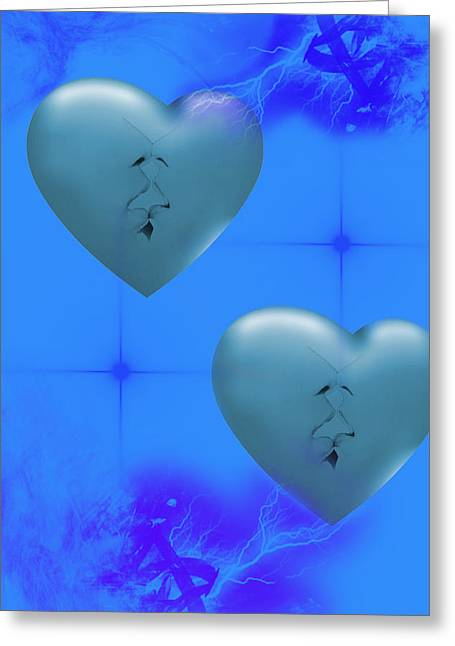 Greeting Card featuring the digital art Two Hearts Together On Valentine's Day  by Angel Jesus De la Fuente