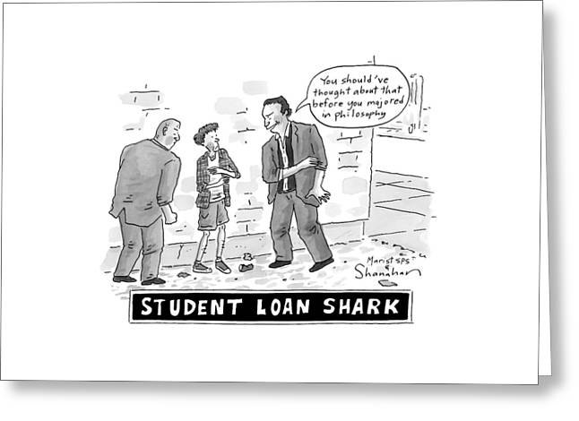 Two Henchman -- Student Loan Sharks -- Approach Greeting Card by Danny Shanahan