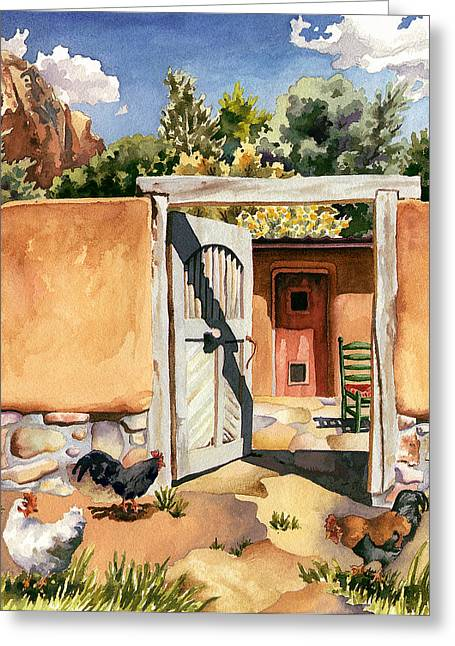Two Hens And A Rooster At Ghost Ranch Greeting Card