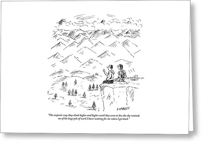 Two Hikers In A Mountainous Area Are Resting. One Greeting Card