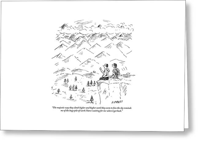 Two Hikers In A Mountainous Area Are Resting. One Greeting Card by David Sipress