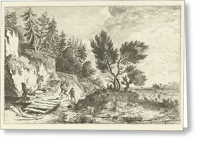 Two Hikers On A Bridge, Joannes Bemme Greeting Card by Joannes Bemme