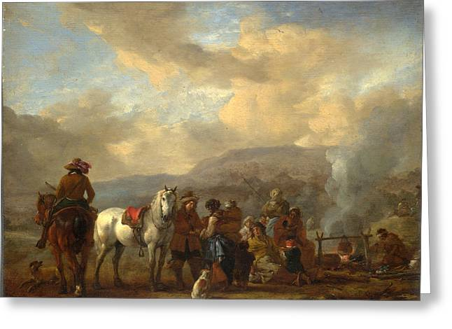 Two Horsemen At A Gipsy Encampment Greeting Card by Philips Wouwerman