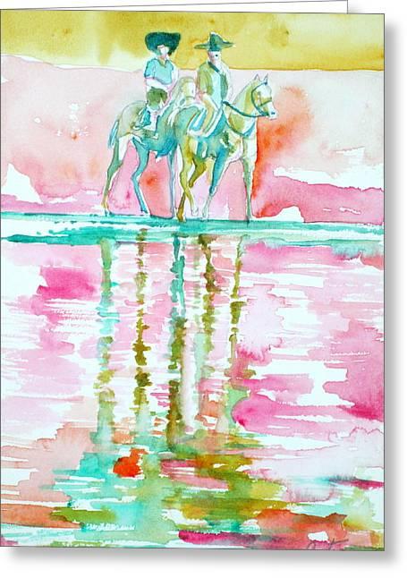 Two Horsemen Greeting Card by Fabrizio Cassetta