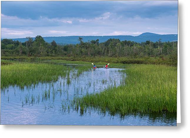 Two Kayaks On Brome Lake  Quebec, Canada Greeting Card by Jacques Laurent