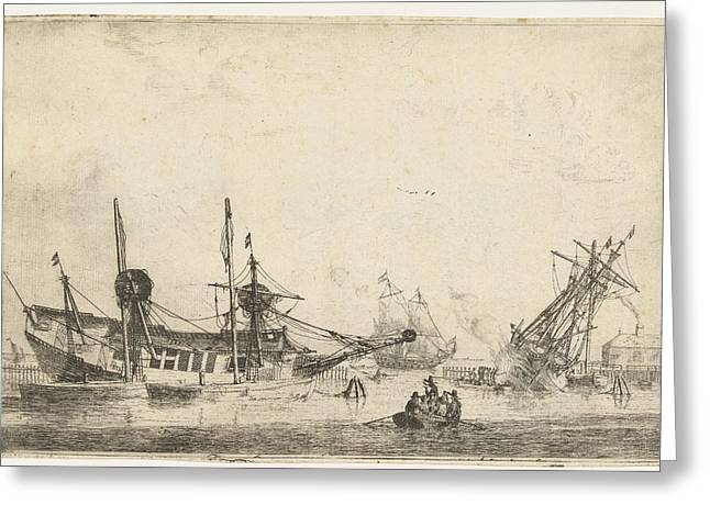 Two Keeled Sailboats, Reinier Nooms Greeting Card