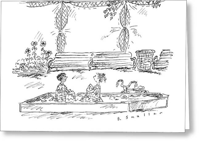 Two Kids In A Sandbox Greeting Card
