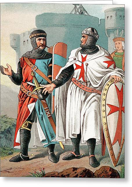 Two Knights Of Malta Wearing Armour Greeting Card