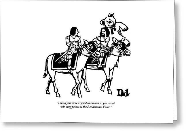 Two Knights On Horses Talk And One Is Carrying Greeting Card