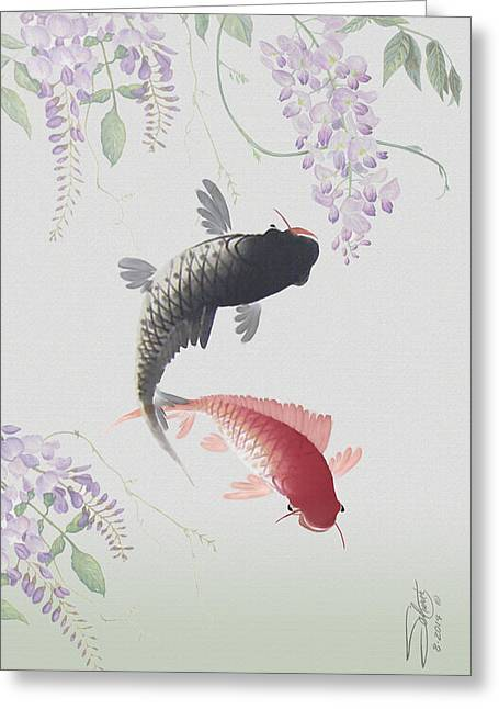 Two Koi And Wisteria Blossoms Greeting Card