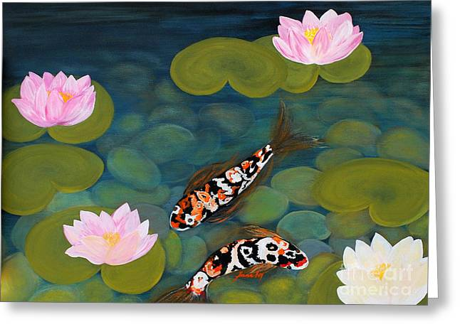 Two Koi Fish And Lotus Flowers Greeting Card