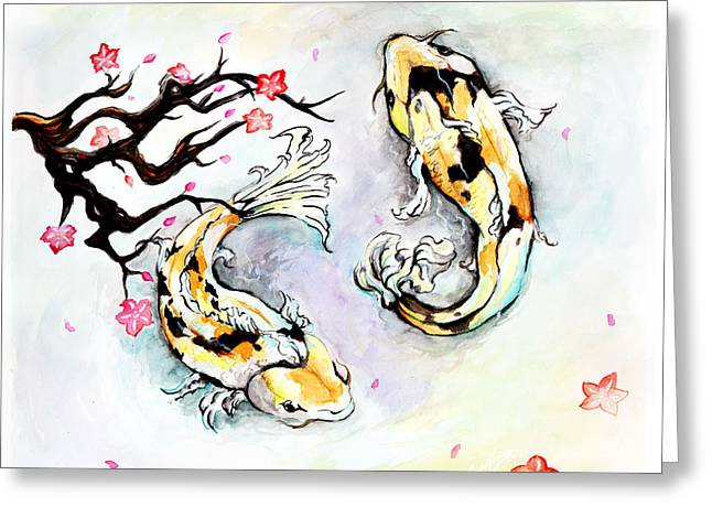 Two Kois Greeting Card by Miguel Karlo Dominado