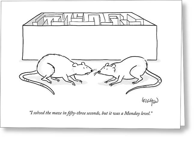 Two Labs Rats Speak Outside A Maze Greeting Card