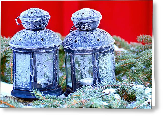 Two Lanterns Frozty Greeting Card by Tommytechno Sweden