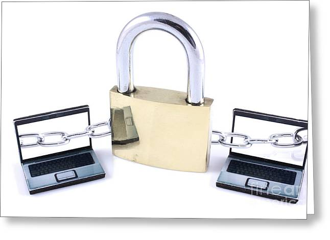 Two Laptops Chained To A Large Padlock Greeting Card by Simon Bratt Photography LRPS