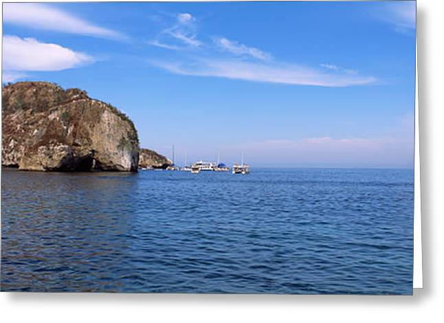Two Large Rocks In The Ocean, Los Greeting Card by Panoramic Images