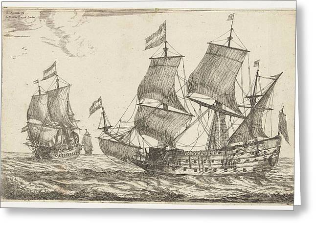 Two Large Warships, Reinier Nooms Greeting Card