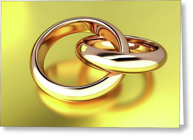 Two Linked Gold Rings Greeting Card by Wladimir Bulgar