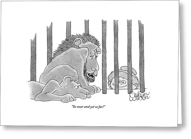Two Lions In A Cage Look At A Young Boy Who Greeting Card by Gahan Wilson