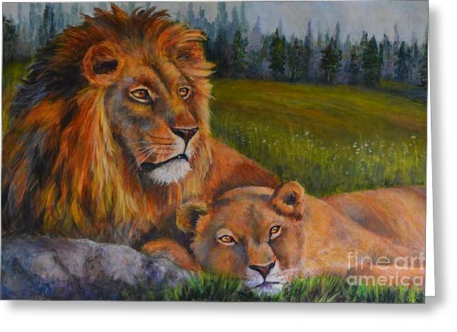 Two Lions Greeting Card by Jana Baker