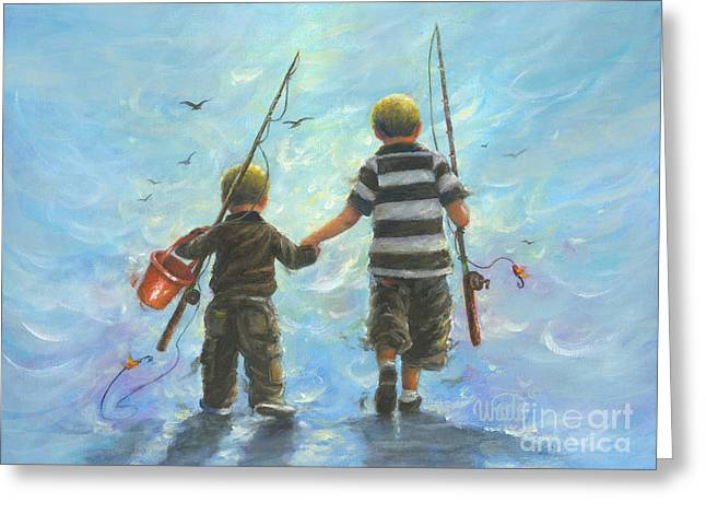 Two Little Boys Going Fishing Greeting Card by Vickie Wade