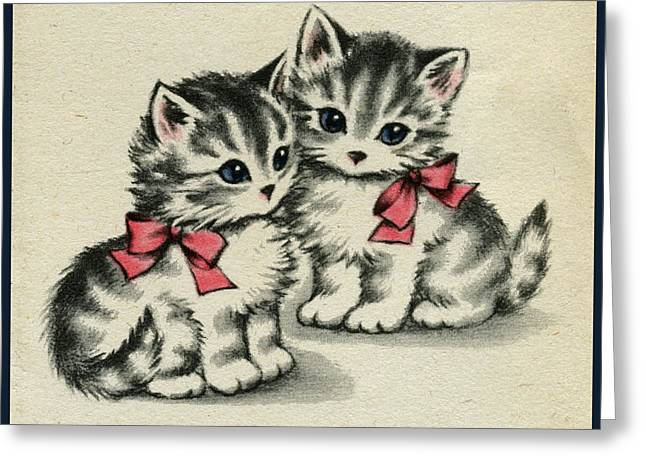 Two Little Kittens Happy To Be With You.  Greeting Card