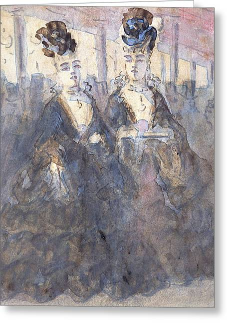 Two Lorettes At The Theater Greeting Card by Constantin Guys