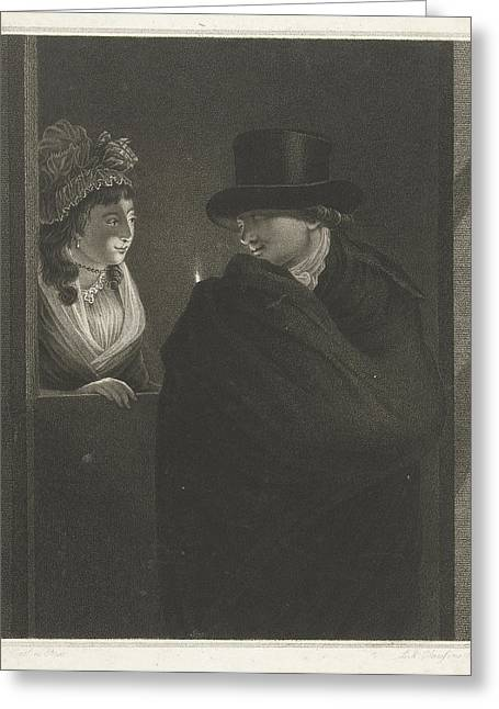 Two Lovers At The Door, Lambertus Antonius Claessens Greeting Card