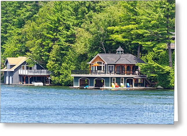 Two Luxury Boathouses Greeting Card