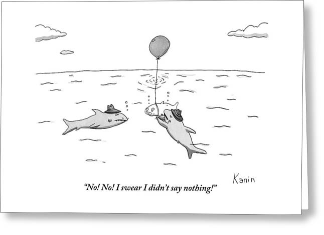 Two Mafioso-type Sharks Tie A Balloon To Another Greeting Card