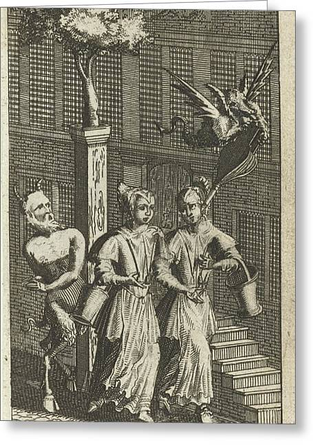 Two Maids And The Devil, Johannes Jacobsz Van Den Aveele Greeting Card