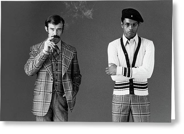 Two Male Models Wearing 1970s Style Clothing Greeting Card by Bill Cahill